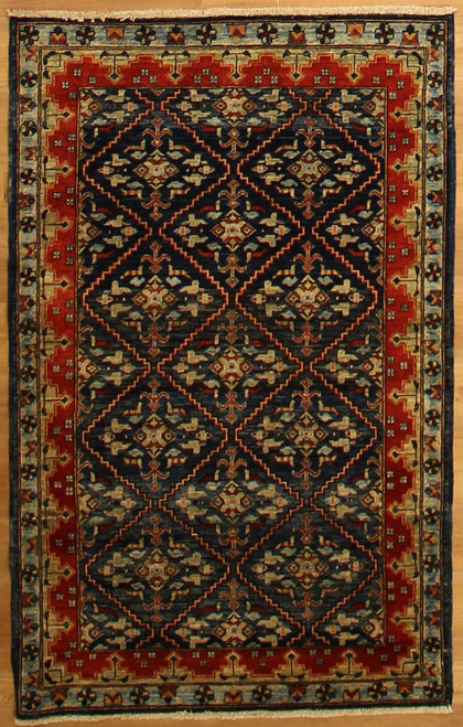 bright colored tribal rug