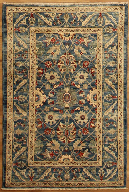 Beautiful blue rug with transitional design