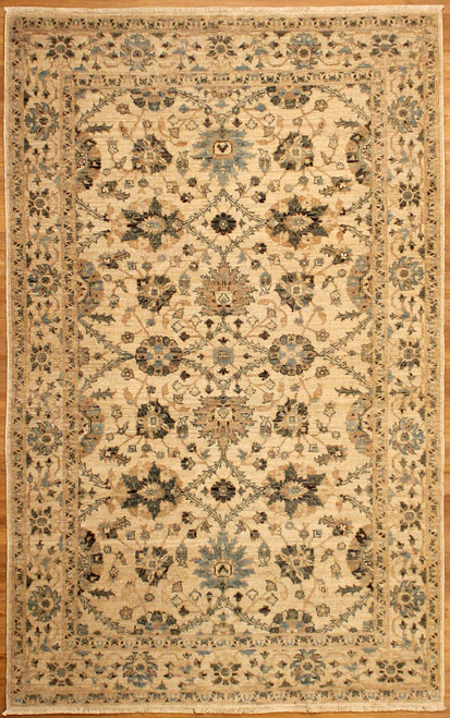beige and light blue rug
