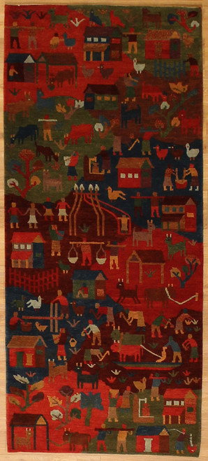 Village scene rug