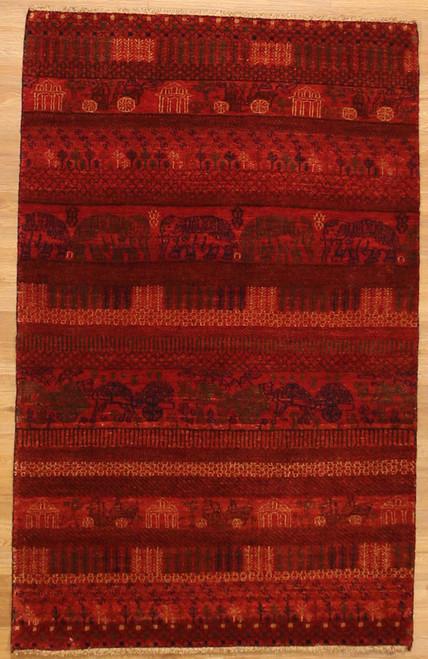 3'2 x 5' Modern Design red rug