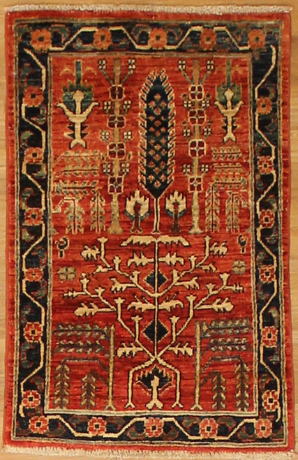 1'11 x 3' Hand Knotted Area rug