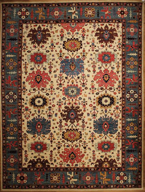 9'1 x 12'1 Beige background room size rug