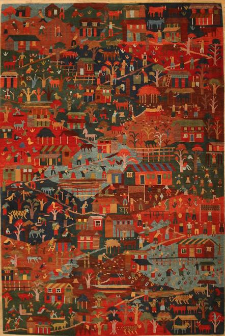 Village scene rug 5'11 x 6'1
