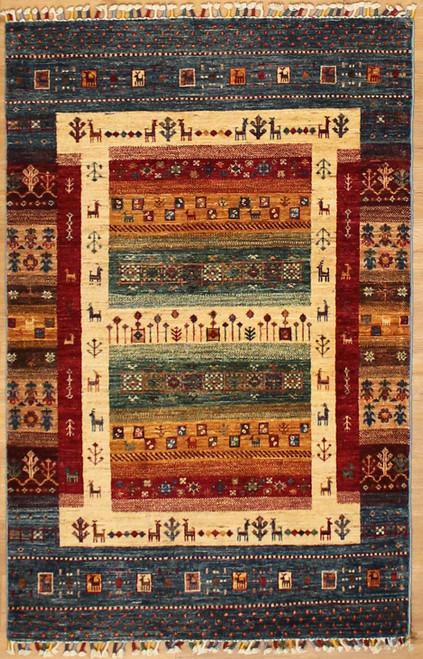 3'6 x 5'4 Gabbeh style rug