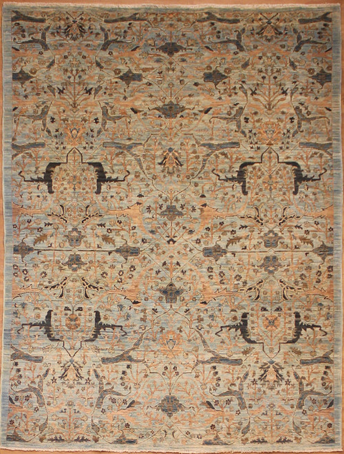 5' x 6'9 light blue antique Bijar design