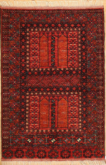 3'11 x 5'10 Afghan Turkmen design rug