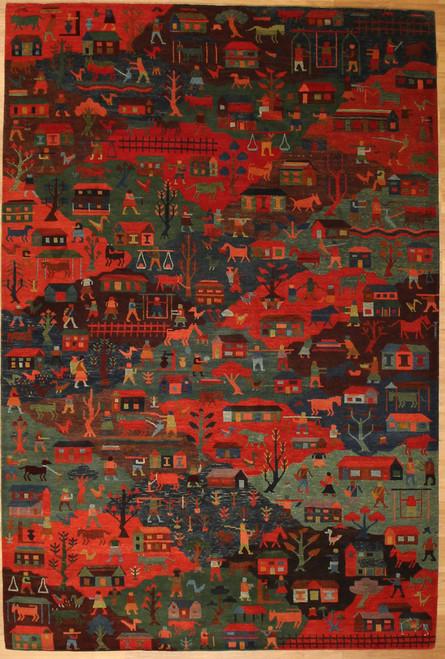6' x 9' Village scene design rug