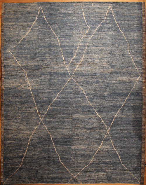 9'2 x 11'7  light blue contemporary design Moroccan style rug