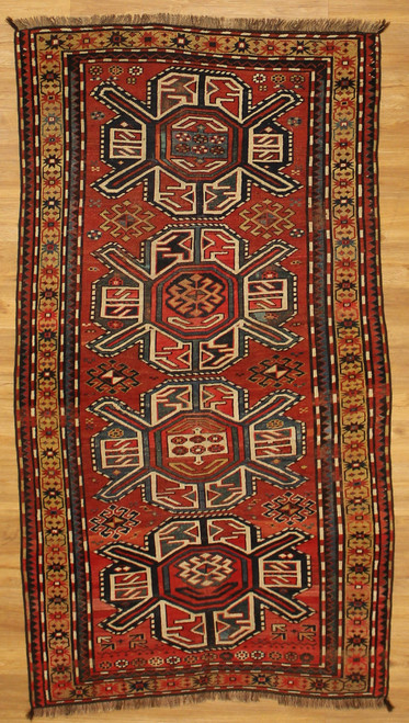 4'4 x 7'10 Antique Caucasian Kazak