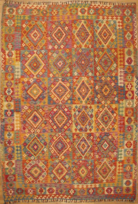 6'7 x 9'7 Hand woven Maimana Kilim