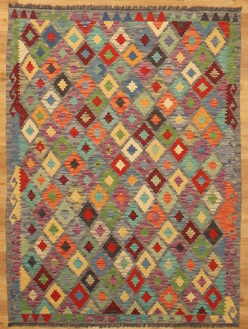 4'3 x 5'8 Hand woven Maimana Kilim