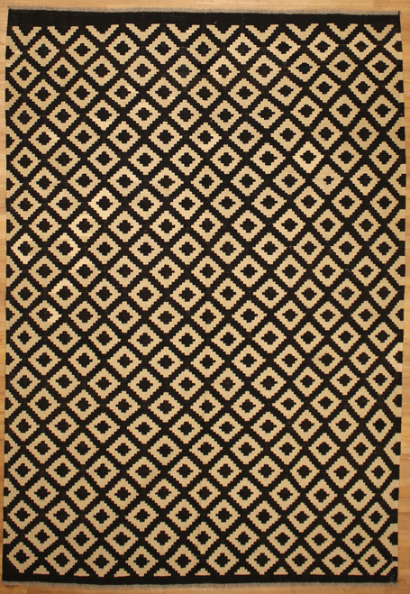 6'7 x 9'6 Hand woven black and beige Modern design Kilim