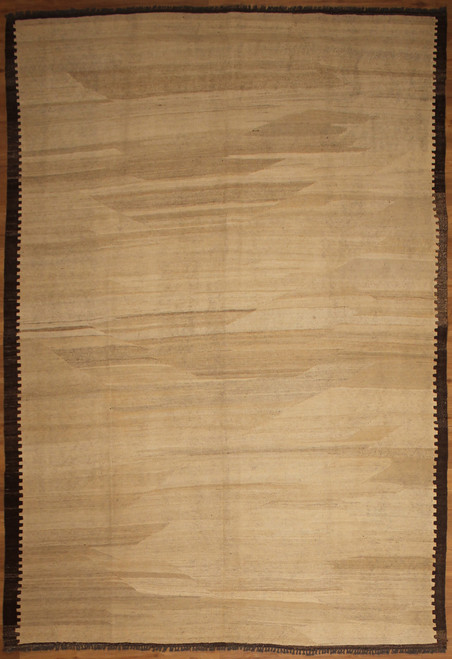 Beige and dark brown black hand woven Kilim
