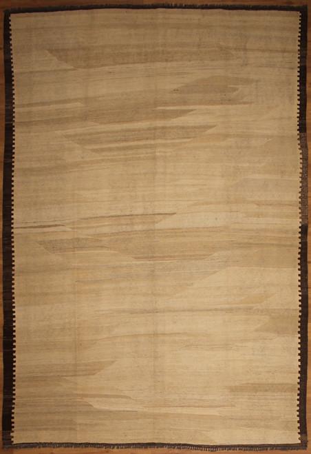 Beige and dark brown black hand woven Kilim