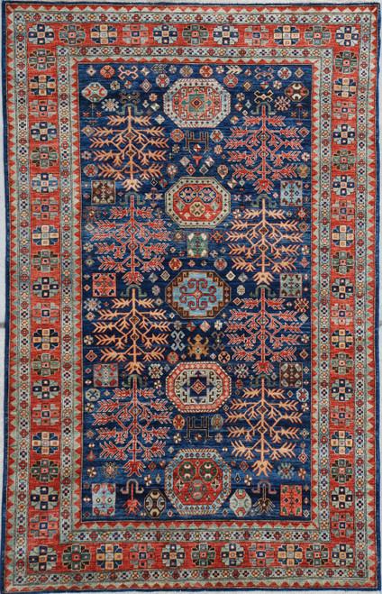 6'1 x 8'10 Navy Blue Geometric rug