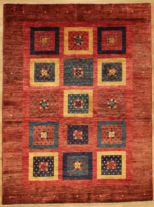 5'1 x 6'10 colorful Modern design rug