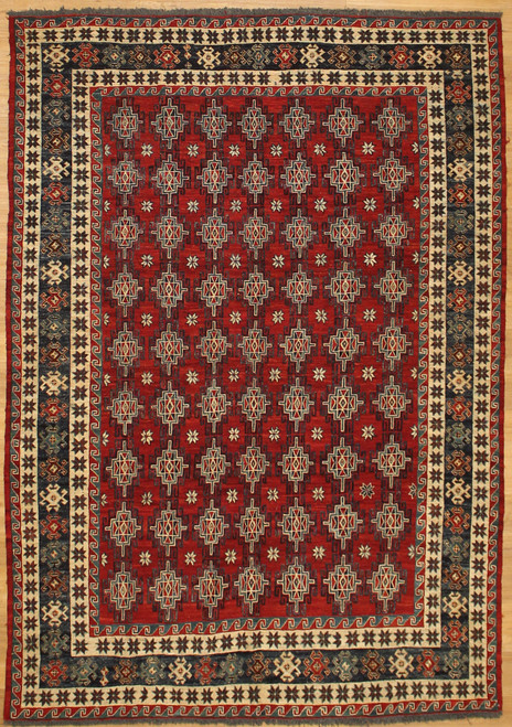 6'1 x 8'8 Tribal design sumac weave rug