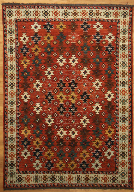4'9 x 6'10 Tribal design soumak weave rug