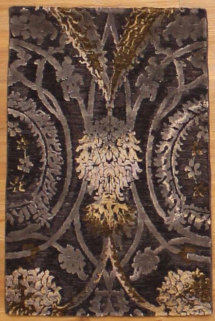 2' x 3' Wool and Silk Modern design Rug