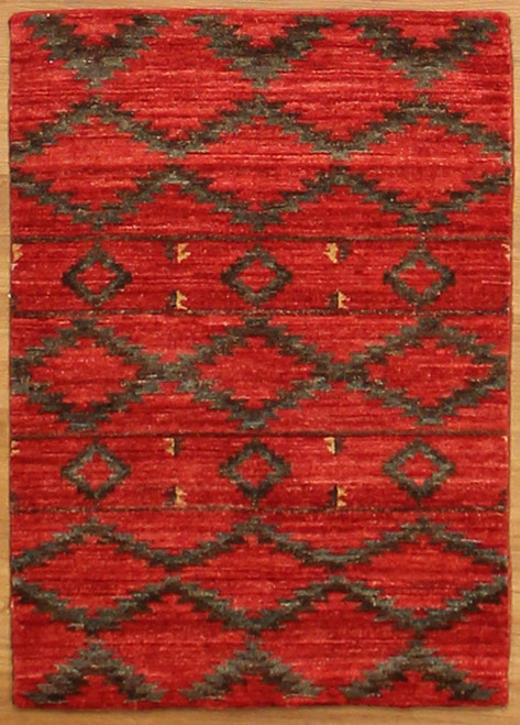 2' x 2'11 Red/Gray color rug