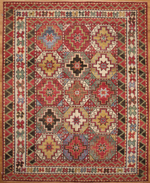 8' x 9'11 colorful hand knotted rug
