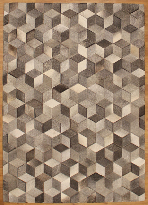 5'3 x 7'9 gray diamond leather rug