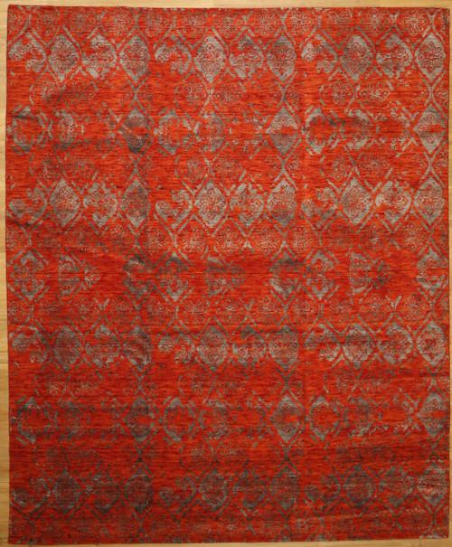 8' x 10' Hand loom red rug