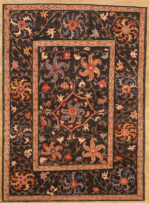 4'9 x 6'8 Charcoal gray suzani design rug
