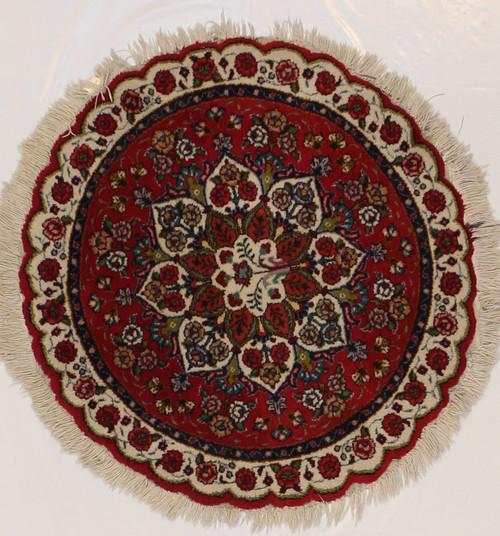 Round Persian Tabriz rug 3'1 x 3'1
