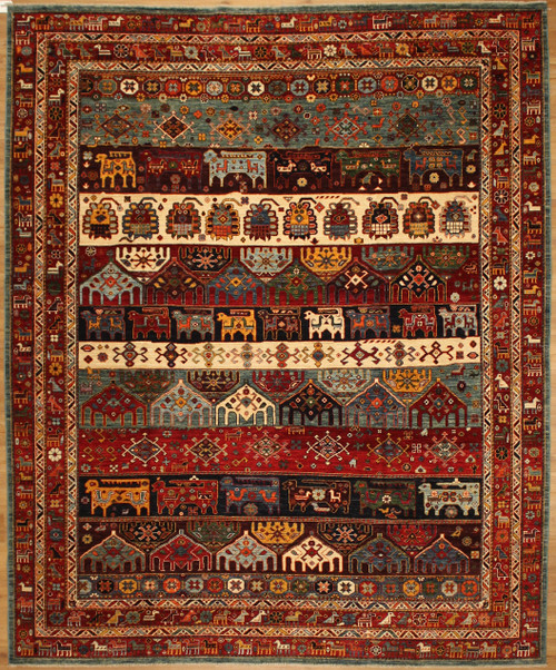 Colorful Tribal design rug 8'1 x 9'8