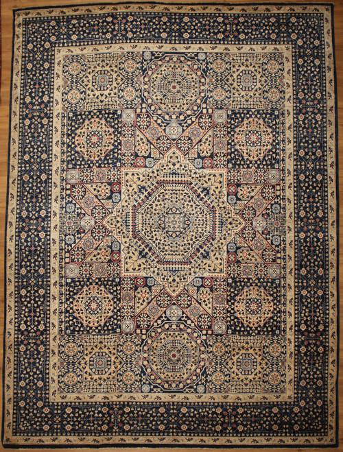 Navy blue Mamluk design 8'11 x 12'2 rug