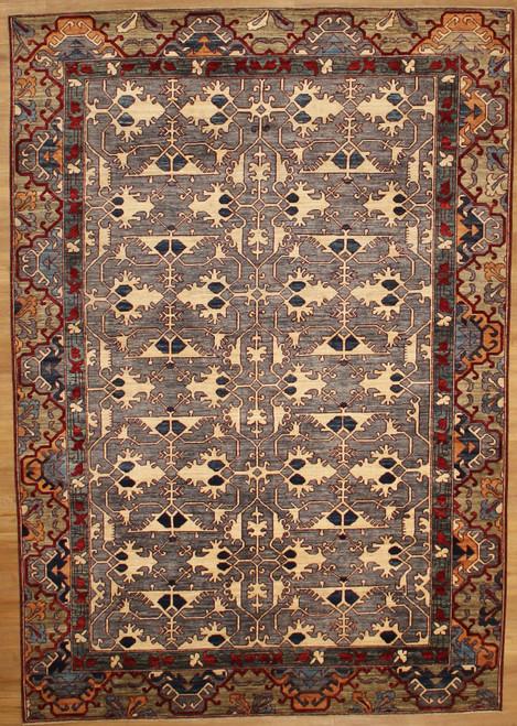 Gray background geometric 6'1 X 8'10 carpet