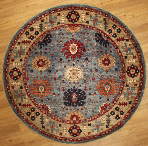 Eight foot round hand knotted rug