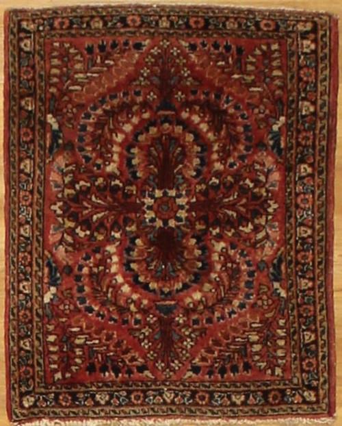 Antique Persian Sarouk area rug 1'11 x 2'7