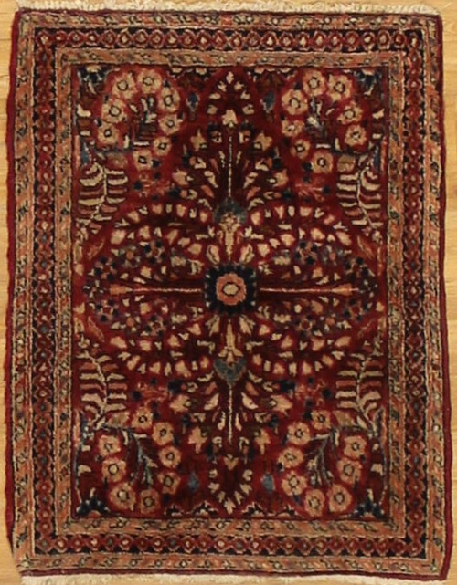 Antique Persian Sarouk area rug 2' x 2'7