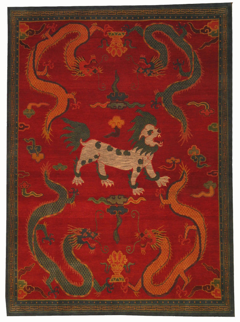 Dragon and Temple Dog Hand woven Tibetan rug