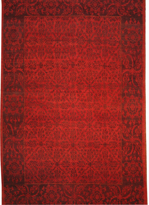 Red contemporary Tibetan rug