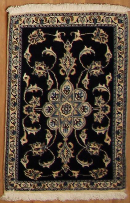 2' x 3' Handmade Black Persian Nain (9122)