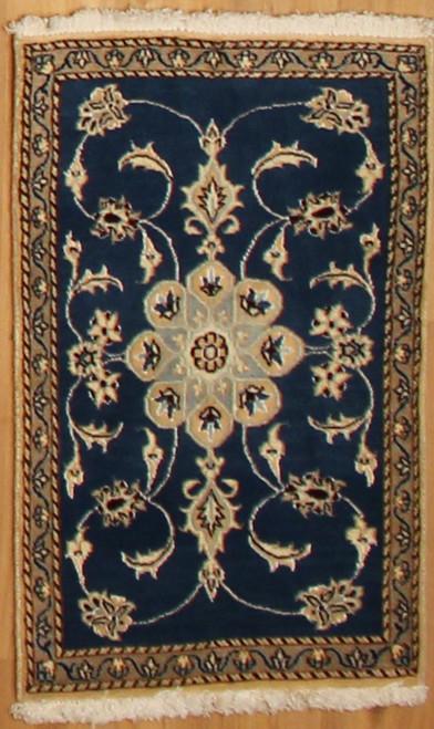 2' x 3' Handmade Blue Persian Nain (9121)