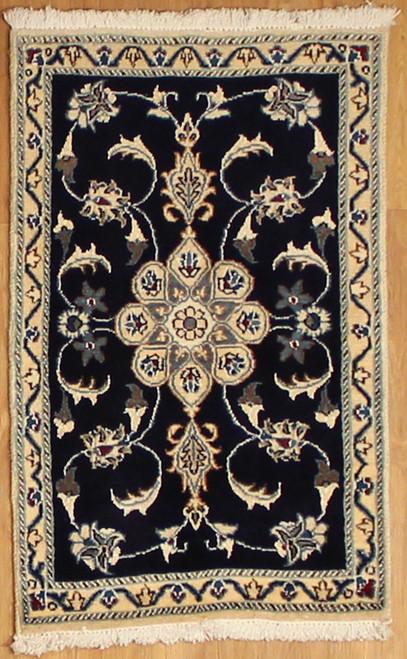 2' x 3' Handmade Black Persian Nain (9133)