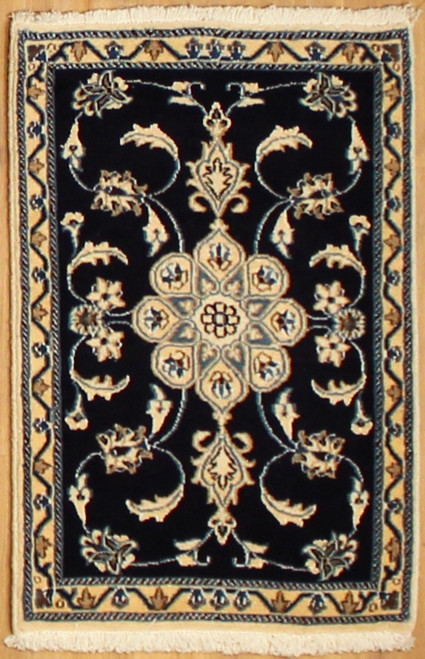 2' x 3' Handmade Black Persian Nain (9118)