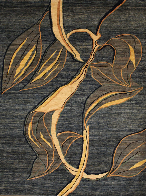 Abstract leaf design rug 9' x 11'7