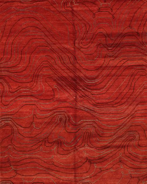 Red contemporary design rug 8' x9'10