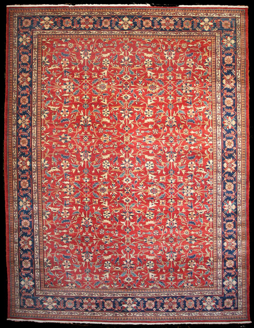 9' x 11'10 rust red overall design rug