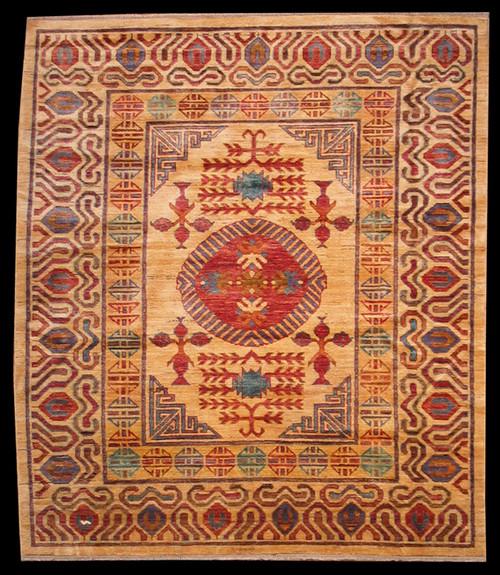 "Tibetan design rug 5'3"" X 6'1"""