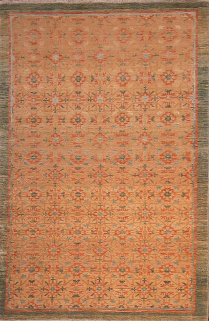 "Gold background transitional design rug 3'11"" X 5'11"""