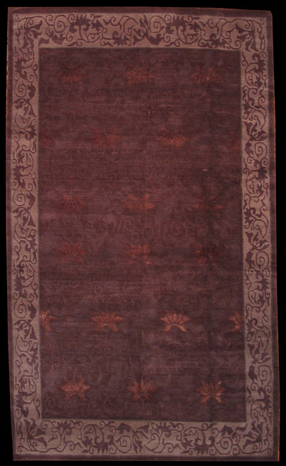 "4'11"" X 8'5"" Dark color Modern design Tibetan rug"