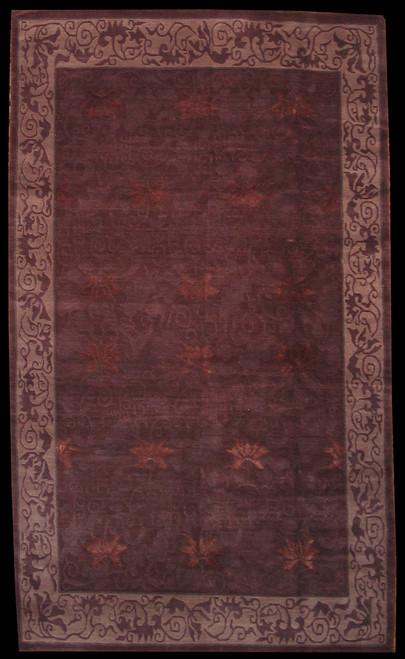 "4'11"" X 8'5"" Dark color Modern design Tibetan rug"