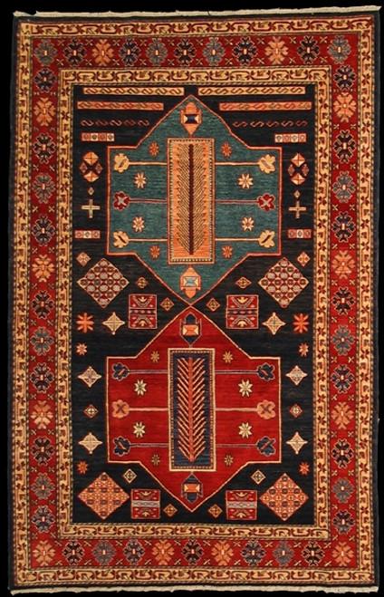 4'11 X 7'7 Geometric caucasian design rug